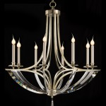 """AJC-8832 41""""H X 39""""D Eight light bent crystal and steel chandelier."""